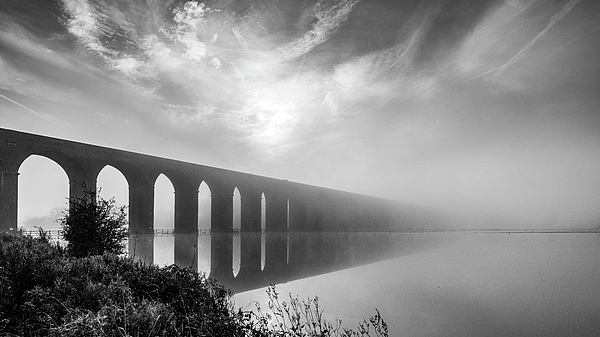 Harringworth Viaduct over flooded fields by James Billings